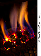 gas fire burning strongly inside a modern home