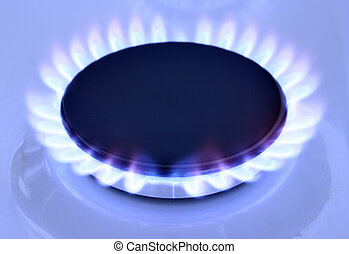 Gas flame - Blue gas flame on hob and space for text on left