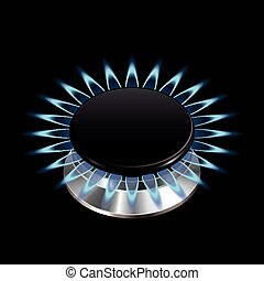 Gas flame from stove isolated on black photo-realistic vector illustration