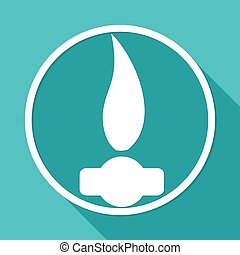 Gas Flame Icon on white circle with a long shadow