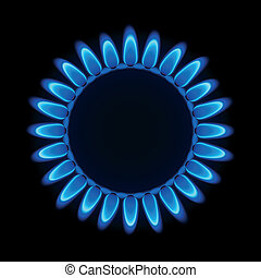 Gas flame on a hob - Vector illustration of a gas flame on a...
