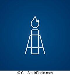 Gas flare line icon.