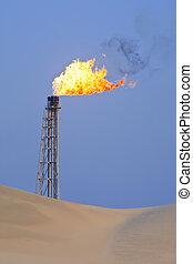 Gas Flaring In The Desert
