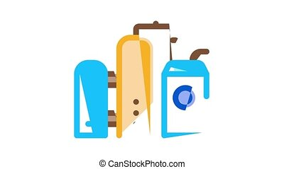 Gas Fuel Industry Icon Animation Gas Truck Cargo Delivery And Carriage Transportation, Station And Derrick, Flame And Barrel