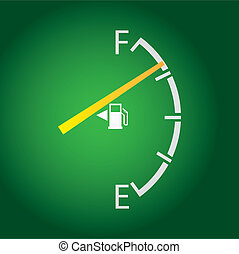 gas gage isolated on a dark green background.
