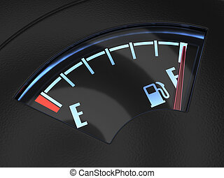 Gas gage with the needle indicating a full tank. Fuel...