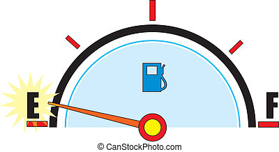 Gas Gauge - A gas gauge with it\\\'s needle on empty.