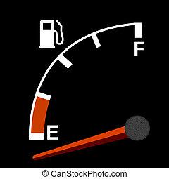 Gas gauge on black dashboard