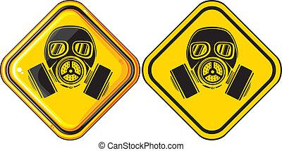 gas, gevaarlijk, masker, meldingsbord