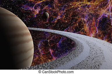 Gas Giant - This image shows a gas giant with her moon