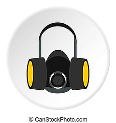 Gas half mask icon, flat style