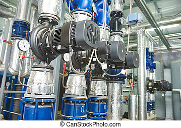 gas heating system boiler room equipments - Closeup of...