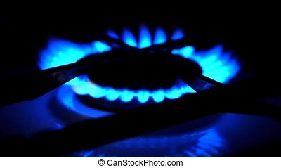 Gas hob burner ring on the gas kitchen stove. Blue flame...