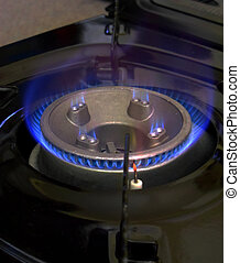 Gas Hob Burning Blue Flame