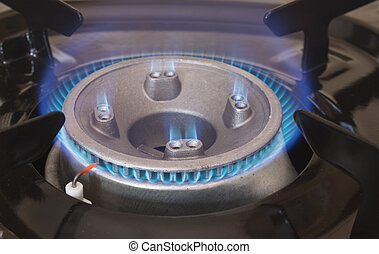 gas hob burning with blue heat