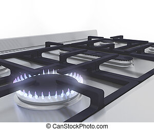Gas hob - 3D render of a lit gas ring