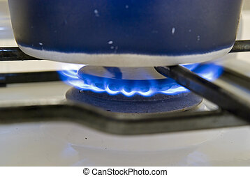 Gas hob with a pan boiling water