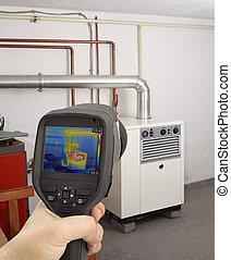 gas, horno, imagen térmica