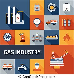 Gas Icon Flat - Gas industry renewable eco fuel icon flat...