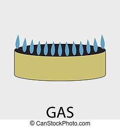 gas, icono, plano, diseño, concepto