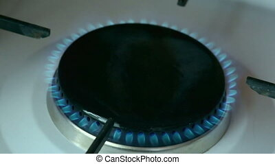 gas ignited, burns and goes out - gas ignited by lighter,...