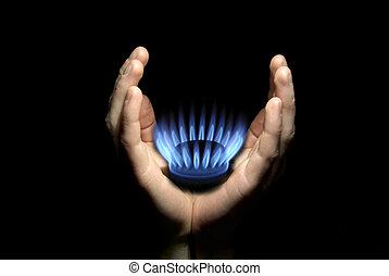 gas in hands