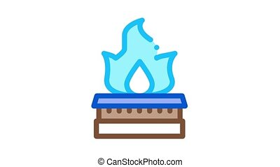 gas in kitchen burner Icon Animation. color gas in kitchen burner animated icon on white background