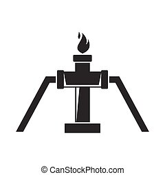 Gas in pipe icon, silhouette style