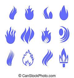 Gas industry blue symbol set