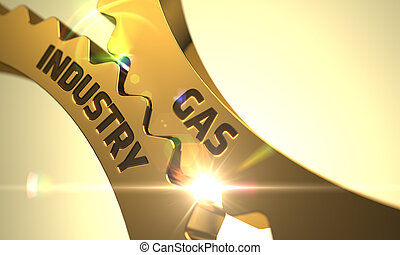 Gas Industry on the Golden Gears. 3D.
