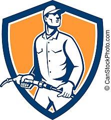 Gas Jockey Attendant Fuel Pump Nozzle Shield - Illustration...