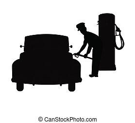 gas jockey filling cars tank - silhouette of service station...