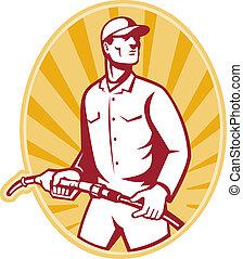 Gas Jockey With Petrol Pump Nozzle Retro - illustration of a...