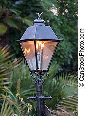 Gas Lamp glowing in outdoor garden