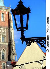 Gas lantern on Ostrow Tumski, Wroclaw in Poland