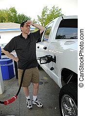 gas, lastbil, pumpa, man