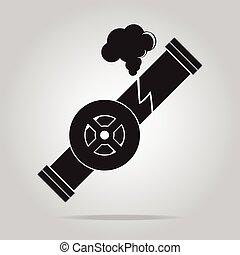 Gas leak pipe icon. Polution Gas Pipe icon sign