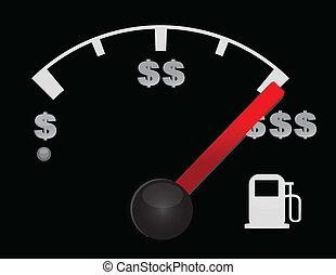 gas mätare, av, a, bil, med, dollar