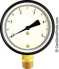 Gas manometer - Indicator to measure the pressure. Vector...