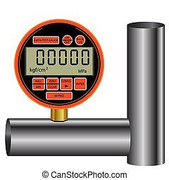gas manometer isolated on white background