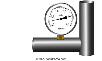 gas manometer working. White screen background. 4k animation.