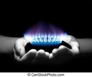 gas, manos