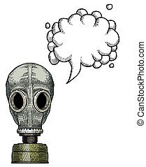 Cartoon image of gas mask. An artistic freehand picture. With speech bubble.