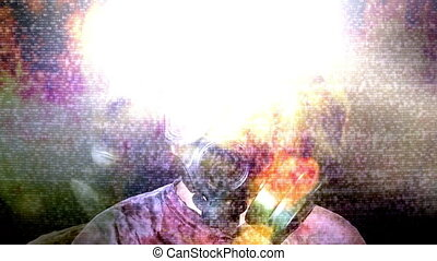 Gas mask fire flames and flashes of light leak - Non looping...