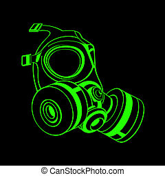 Gas mask - Green contour gas mask isolated over black