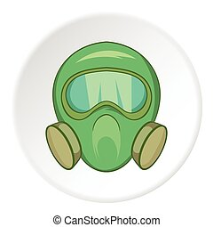 Gas mask icon, cartoon style