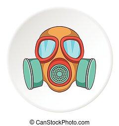 Gas mask icon, cartoon style