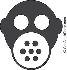 Gas mask icon in black on a white background. Vector illustration