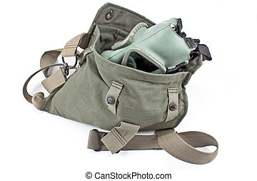 Gas mask in military canvas bag