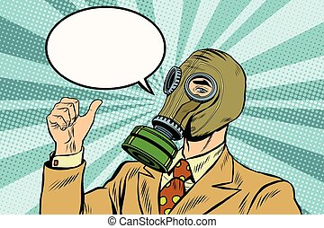 Gas mask man thumb up